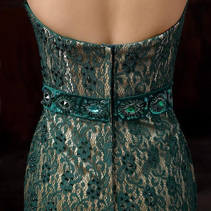 Mørkegrønn sexy stroppeløs halter rhinestone tail blonder silm - Nasjonale klær - Bilde 5