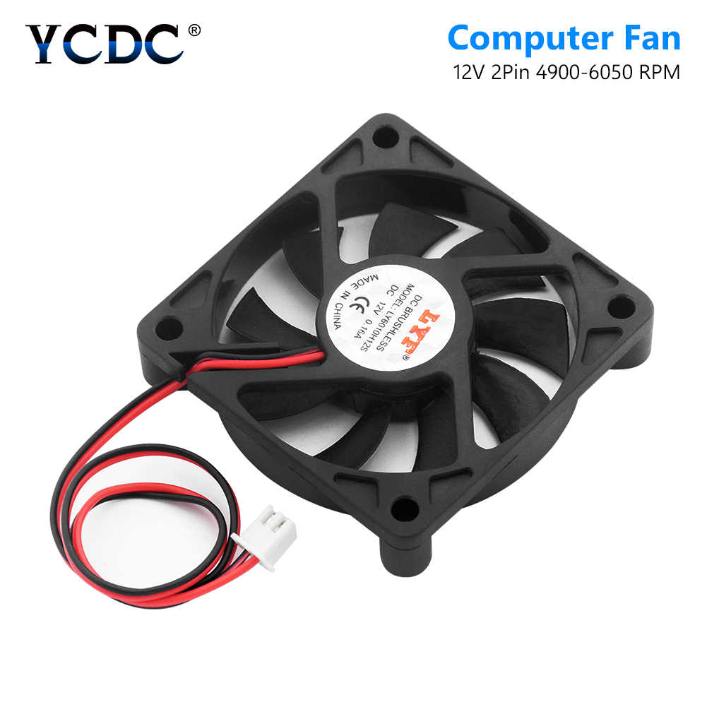 60X60X12 มม.2 Pins 12V DC พัดลมระบายความร้อนคอมพิวเตอร์ PC กรณี CPU Cooler พัดลมเสียงรบกวนต่ำ CPU HEAT SINK Cooler 4900-6050 RPM