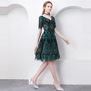 Image 4 - 美容エミリーグリーンカクテルドレス夏vネック半袖ブリンブリンスパンコール女性パーティーファッションデザイナーカクテルドレス