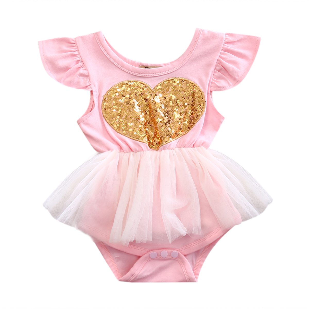 0 24M Babies Girl Heart Sequins Tulle Bodysuits Cute Newborn Infant Baby Girls Bodysuit Playsuit Outfits