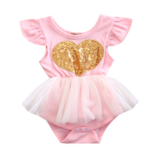0-24M Babies Girl Heart Sequins Tulle Bodysuits Cute Newborn Infant Baby Girls  Bodysuit Playsuit Outfits Sunsuit Clothing
