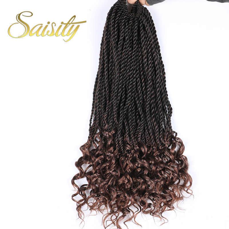 Saisity 18 pulgadas ombre Senegalese twist crochet trenzas cabello 32 hebras/paquete extensiones de cabello trenzado sintético