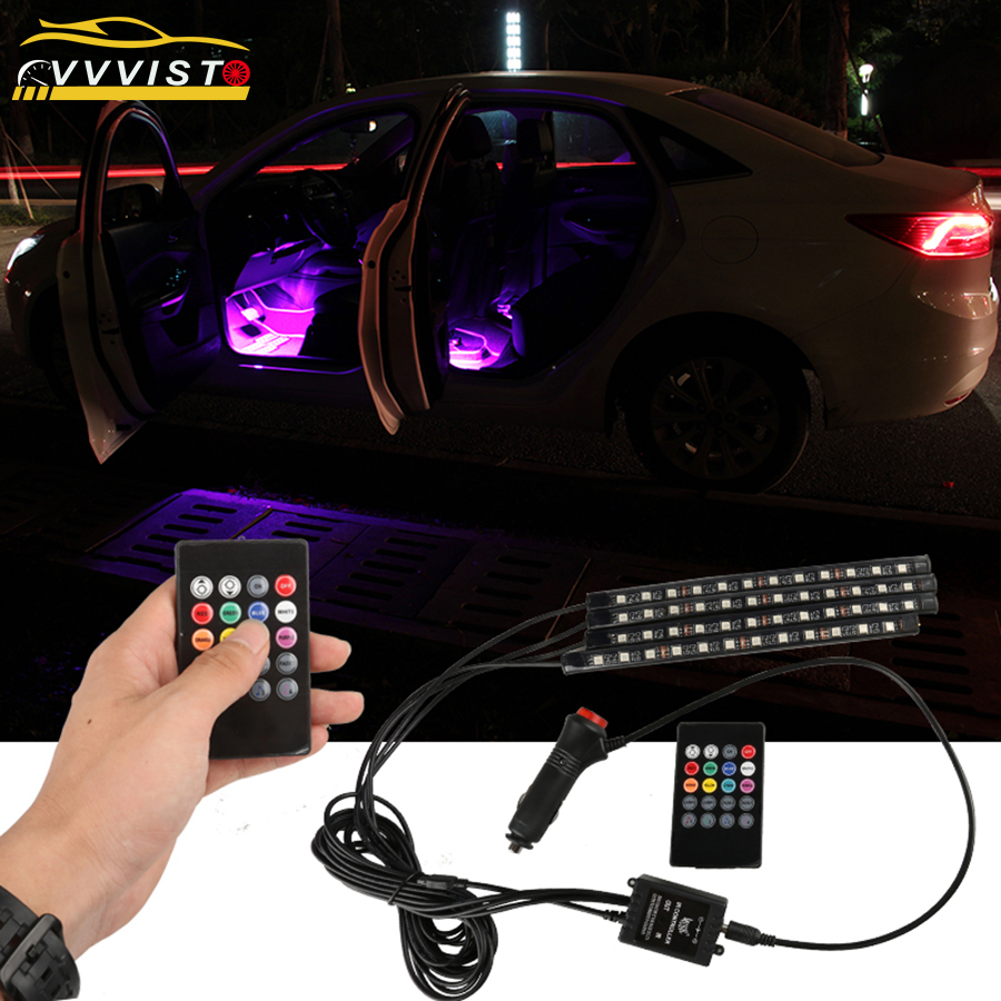 2018 VVVIST Car Light Led Auto Light Modified Foot Light 12V 22.5cm Car Interior Decorative Light 5050 LED 36SMD Auto LED Strip car 8 led underbody colorful decorative light dc 12v