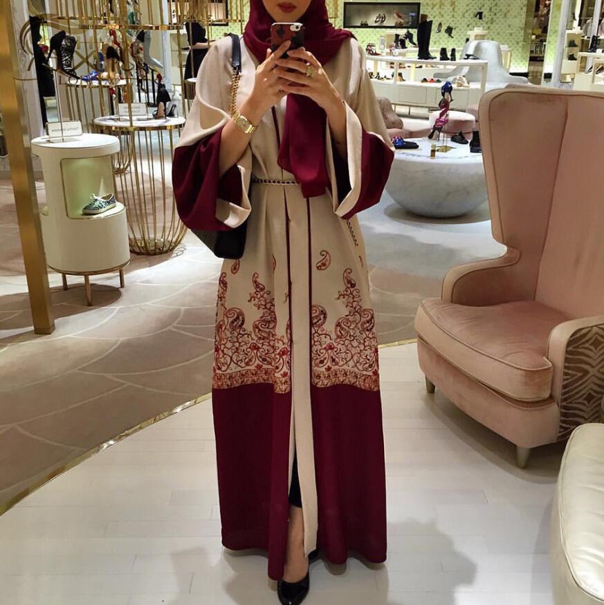 2019 Vêtements Dubaï Robes Bourgogne Swing Arabe Ramadan Islamiques De Femmes Robe Musulmane Mode Impression Longue Moyen Abaya orient Maxi rrfwqpSxa