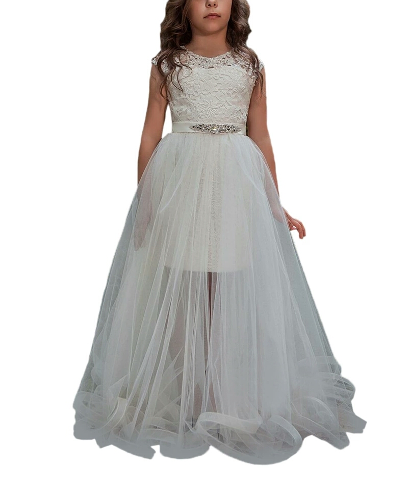New White Lace 2 Pieces Flower Girl Dress with Removable Train Girls Pageant Party Gown Custom MadeNew White Lace 2 Pieces Flower Girl Dress with Removable Train Girls Pageant Party Gown Custom Made
