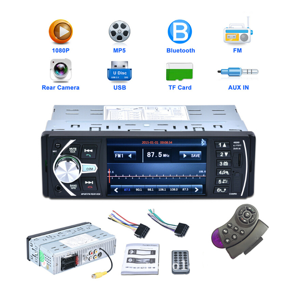 4020D 4.1 Inch HD Bluetooth USB MP5 MP4 Car Radio Stereo Player rear Camera/DVR Input TF AUX FM 1 Din steering wheel with remote 12v 4 1 inch hd bluetooth car fm radio stereo mp3 mp5 lcd player steering wheel remote support usb tf card reader hands free