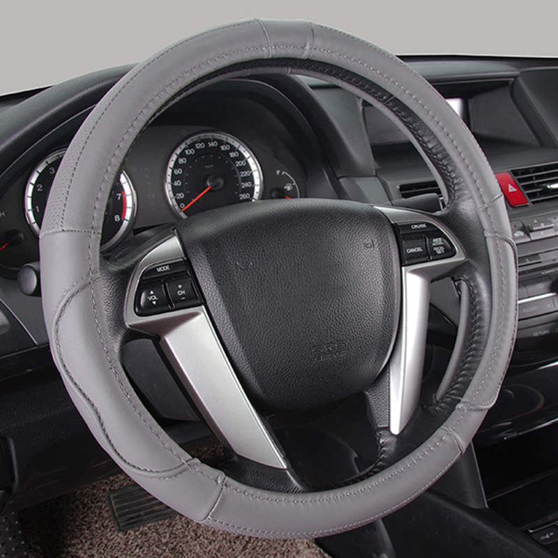 Genuine Leather Car Steering Wheel Cover Universal Fit for Lexus RX LX GX GS CT-h NX ES LS IS Series 37-38CM 15 M Size Black
