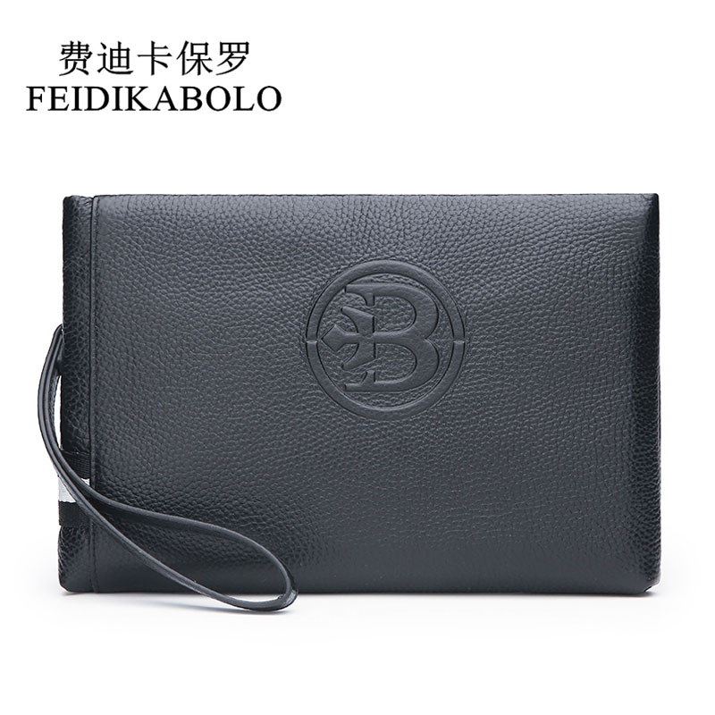 FEIDIKABOLO Top Brand mens clutch wallet Genuine Leather Male Purse Handy Bag Monede Men's Envelope wallets Carteira Masculina sale carteira feminina genuine leather bag brand wallet men kangaroo design genuine leather wallets mens carteira masculina