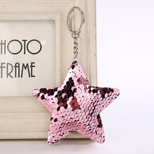 100pc star/heart keychain glitter pompom sequins key chain gifts women llaveros mujer car bag charms accessories ring pompon