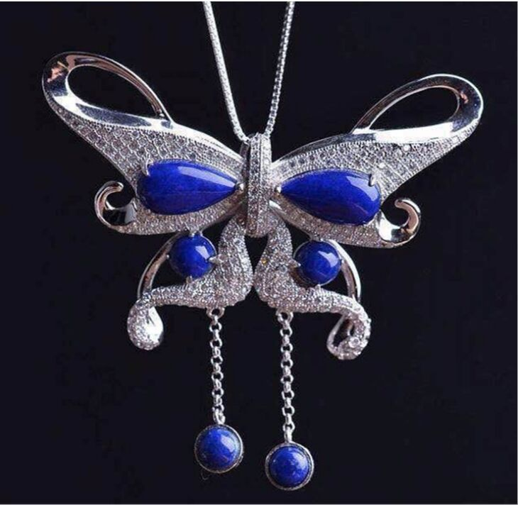S925 sterling silver mosaic natural Afghanistan lapis lazuli butterflies delicate female models necklaces pendants s925 pure silver personality female models new beeswax