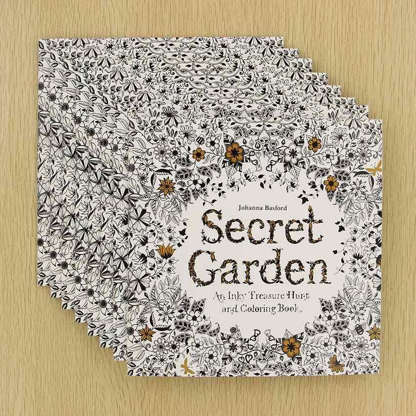24 sayfa Secret Garden İngilizce Baskı Boyama Kitabı Çocuk Yetişkin Stres Rahatlatmak Öldür Zaman Boyama çizim kitabı