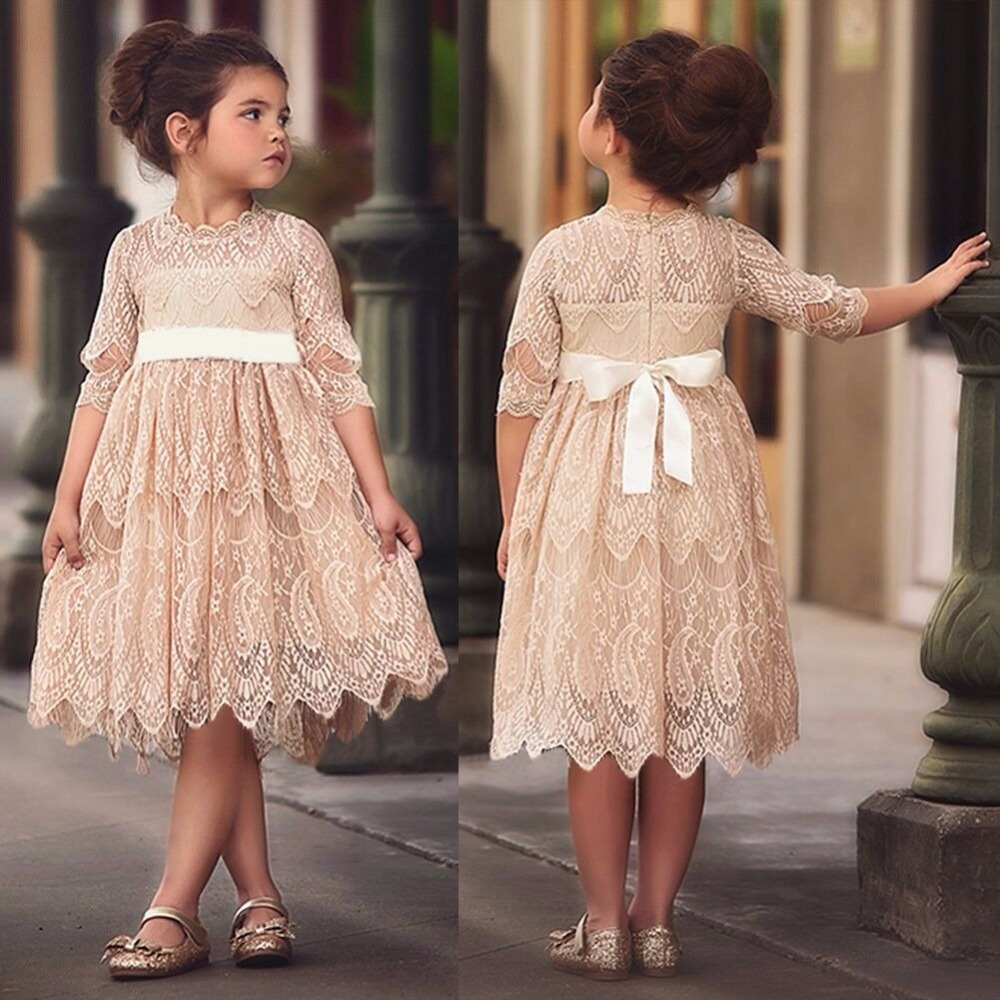 Baby Girl Dress Autumn Long Sleeve Princess Dress Hollow Out Flower Costume