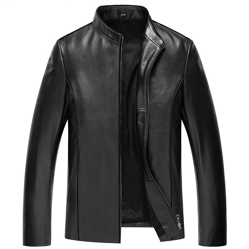 L-4XL!Spring And Autumn Male Basic Leather Jacket Male Sheepskin Leather Coat Mandarin Collar Leather Jackets Men Outerwear