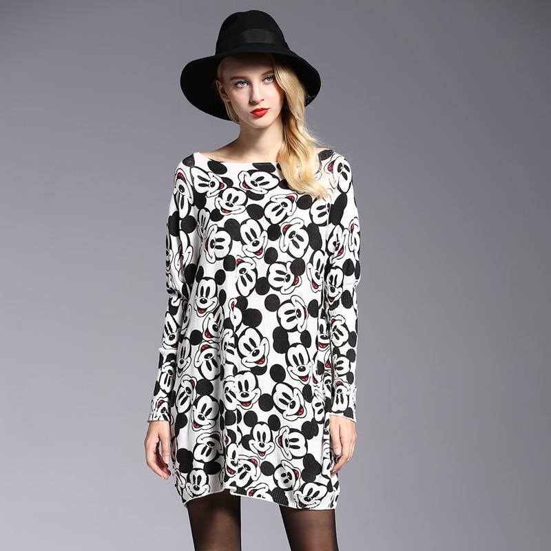 2018 Pendatang Baru Musim Gugur Wanita Longgar Gaun Sweater Mickey - Pakaian Wanita