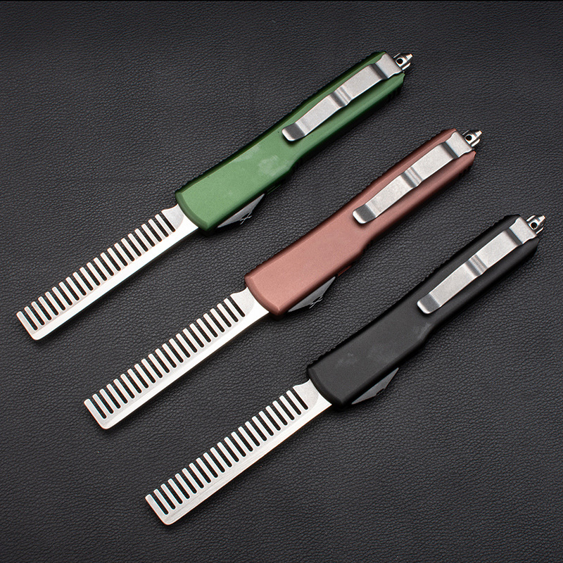 A51 New Products Micro Technology Stainless Steel Aviation Aluminum Handle Metal Comb Creative Straight Jump Tactical Comb EDC