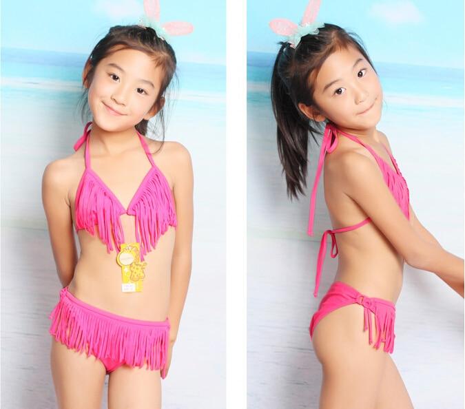 d75c026705ed3 New Summer Girls Two Piece Fringe Swimwear Triangle Halter Neck Swimsuit  Children In Bathing Suits Bikini Yellow Pink on Aliexpress.com | Alibaba  Group