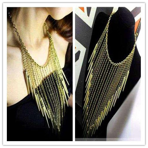 Vintage Exaggerated tassel rivets Long chain Gold Bronze women chokers Necklaces Punk jewelry  Free shipping