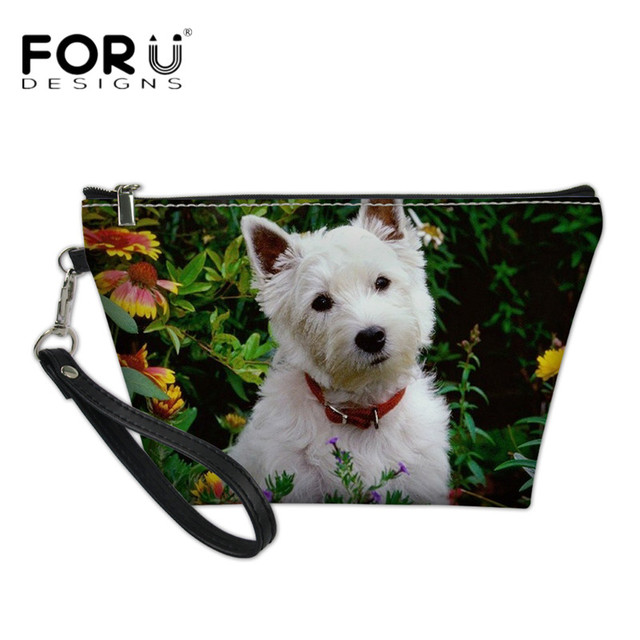c17e523a8a6a US $7.58 31% OFF|FORUDESIGNS Cute Westie Florals 3D Print Makeup Cases  Brand Women's PU Cosmetic Bags High Quality Beauty Case for Teenagers  Girl-in ...