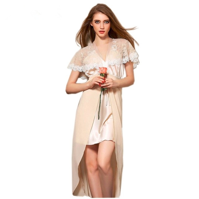 Daeyard Fashion Women Silk   Nightgown   Hight Quality Short Sleeve Gauze   Sleepshirt   Female Sexy Lingerie Sleepwear Elegant Homewear