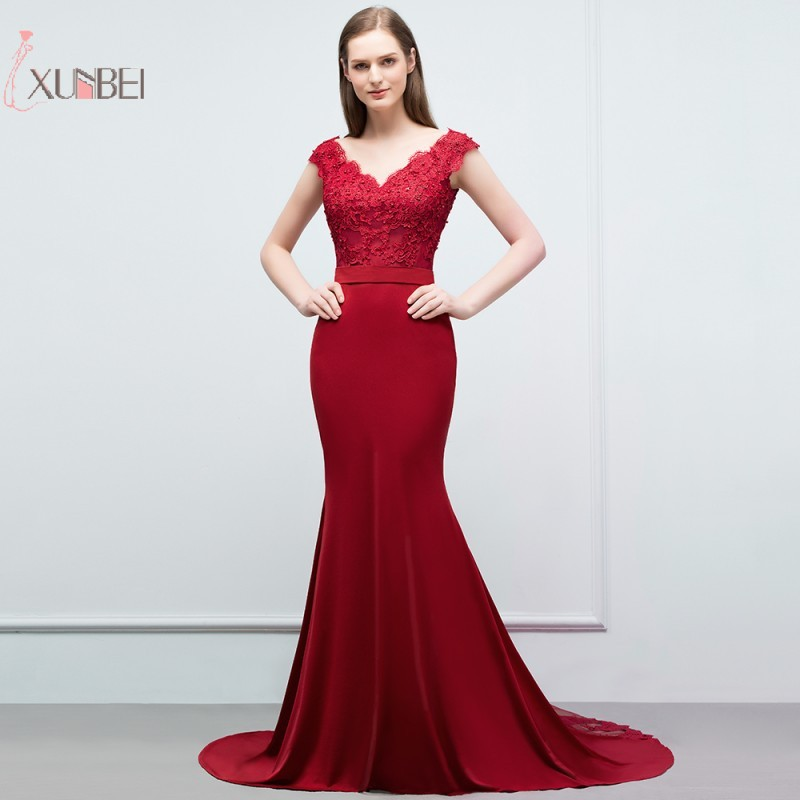 Burgundy Chiffon Mermaid Long   Prom     Dresses   2019 Sleeveless V Neck   Prom   Gown gala jurken vestidos de festa
