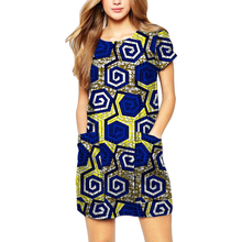 Fashion dress for women african prints short sleeve dresses with pockets ladies dashiki tailor made summer africa outfits