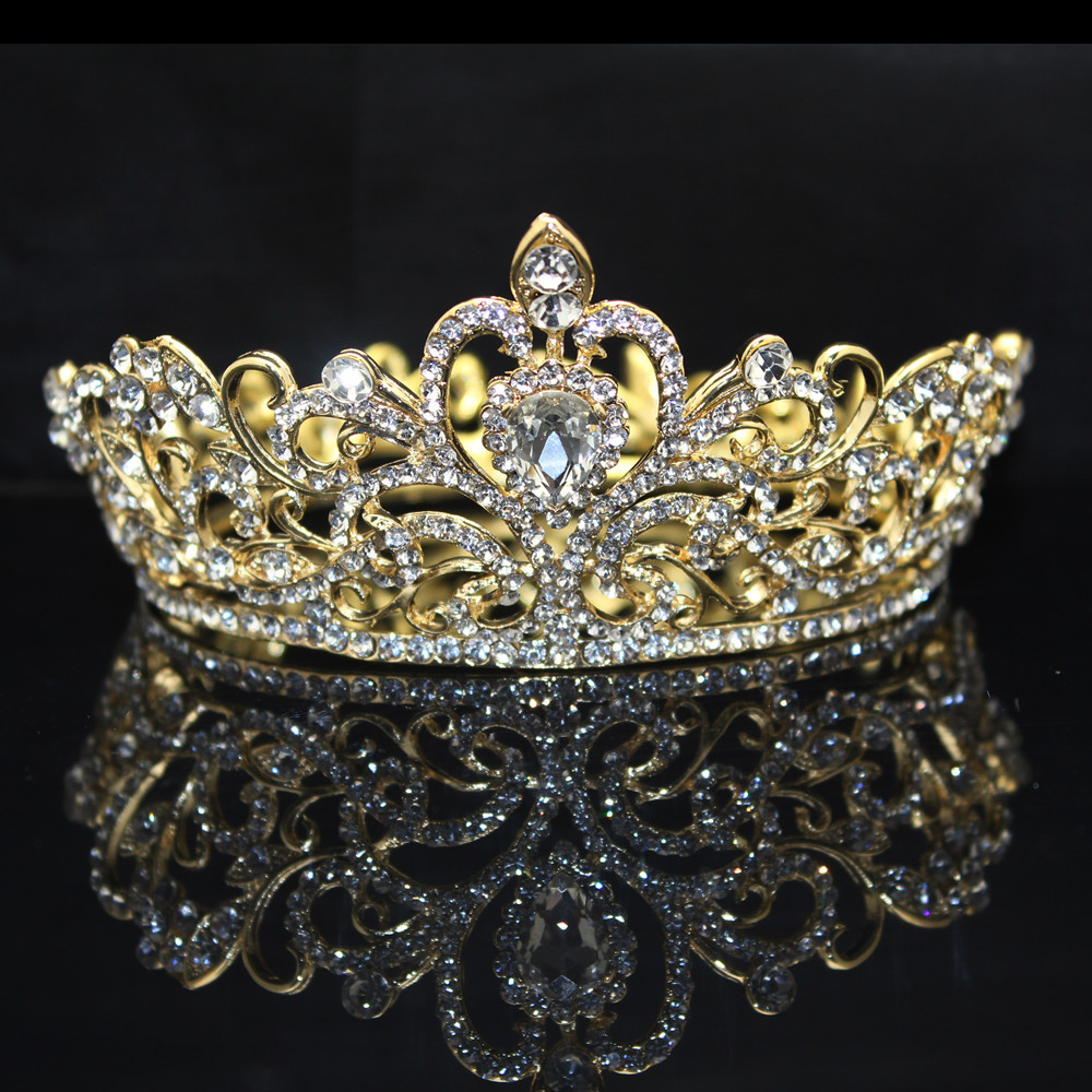 Kmvexo 2018 New Full Round Gold Silver Drop Bridal Crown