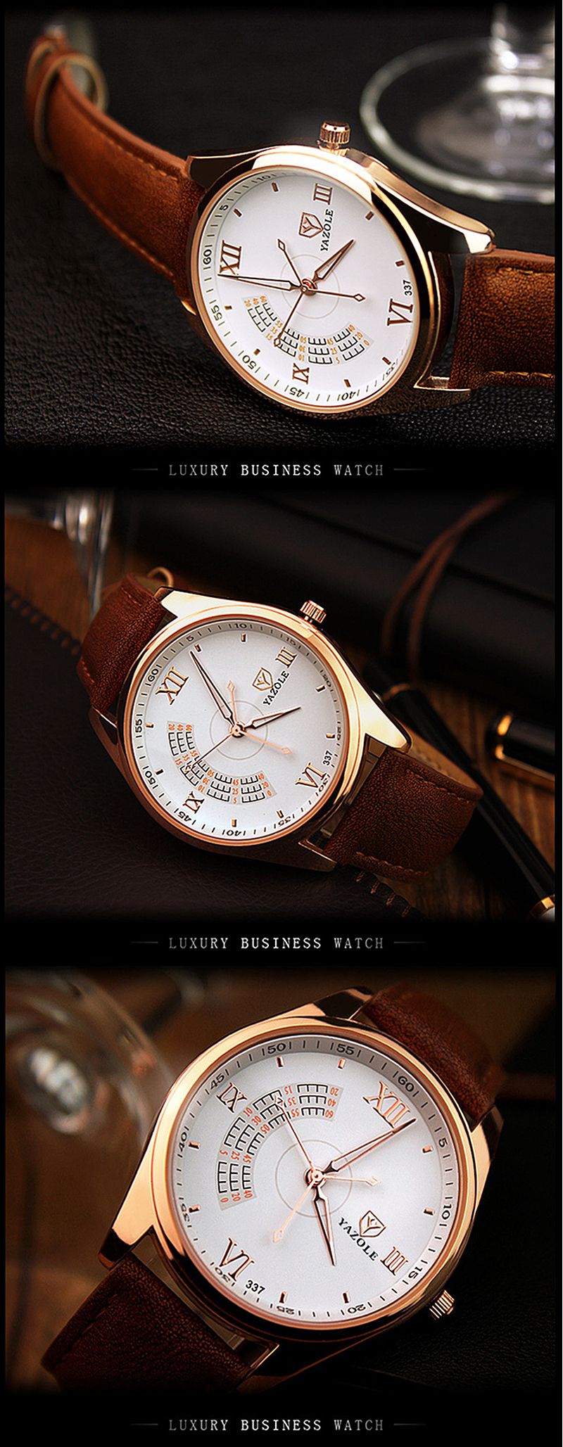 Men Business Leather Watch