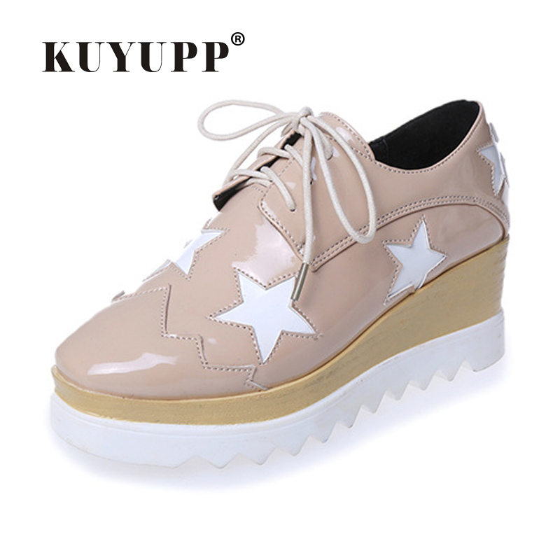 2016 Hot Sale Stars Womens Flats Round Toe Patent Leather Platform Shoes Oxford Lace up Derby Shoes Size 35-39 Brogue Shoes PX69 дождевик для коляски maclaren volo