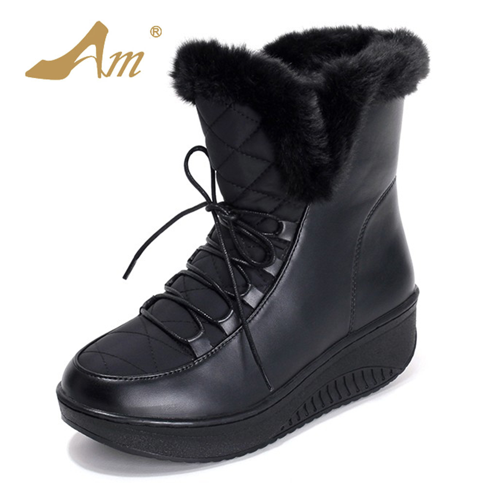 AME Hot Sale Shoes Women Boots Solid Slip-On Soft Cute Women Snow Boots Round Toe Flat with Winter Fur Ankle Boots 2017 new arrival hot sale women boots solid bowtie slip on soft cute women snow boots round toe flat with winter shoes wsz31