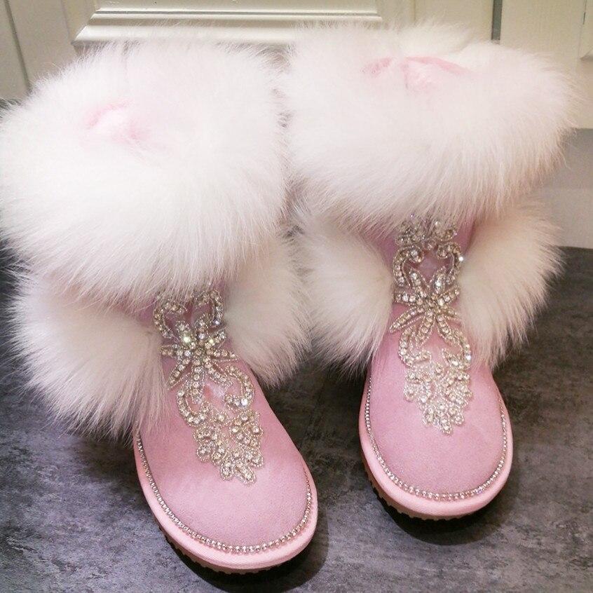 Abesire Chaussures 2019 Femmes sur Cheveux Luxe Décontractées Bottes Ronde Nouveau De À Bottines Renard Rose Dames Plates Sexy Toe Filles Neige Strass Slip rFxqrS6