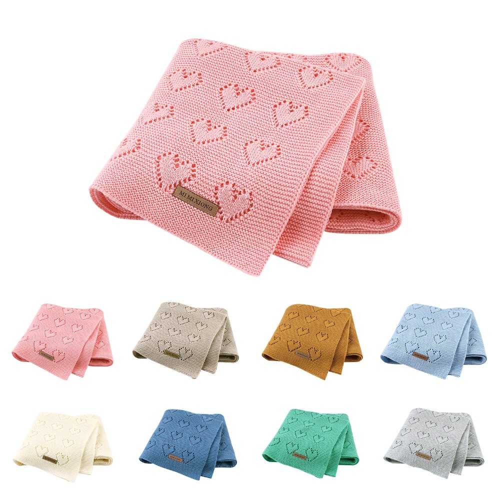 80X100cm Cotton Knitted Crochet Heart Hollow Thin Summer Wrap Baby Knitted Blanket Toddler Kids Back Seat Cover Stroller Cover