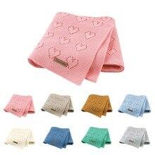 Manta tejida de algodón de 80X100cm con corazón de ganchillo para verano, manta tejida para bebé, cubierta del asiento trasero para cochecito