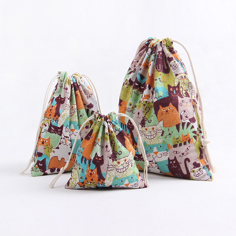 YILE 1pc Cute Cat With Diferent Expressions Cotton Linen Drawstring Multi-purpose Organizer Party Gift Bag Orange Blue Cat 8129d