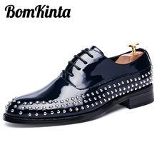 BomKinta Glitter Rivet Mens Party Shoes Fashion Bling Wedding Shoes Luxury  Leather Oxfords Shoes Brogues Male Flats Dress Men 51a3c6e9b0d8