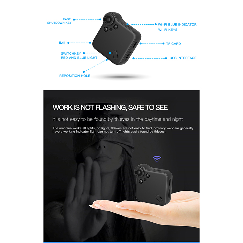 1080P Mini Camera HD C1 IP Cam WiFi Wearable Mini Micro Camera Motion Sensor Kit