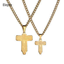 Eleple Religious Titanium Steel Cross Jesus Scripture Carved Pendant Necklaces for Women Large/Small Size Jewelry S-N353