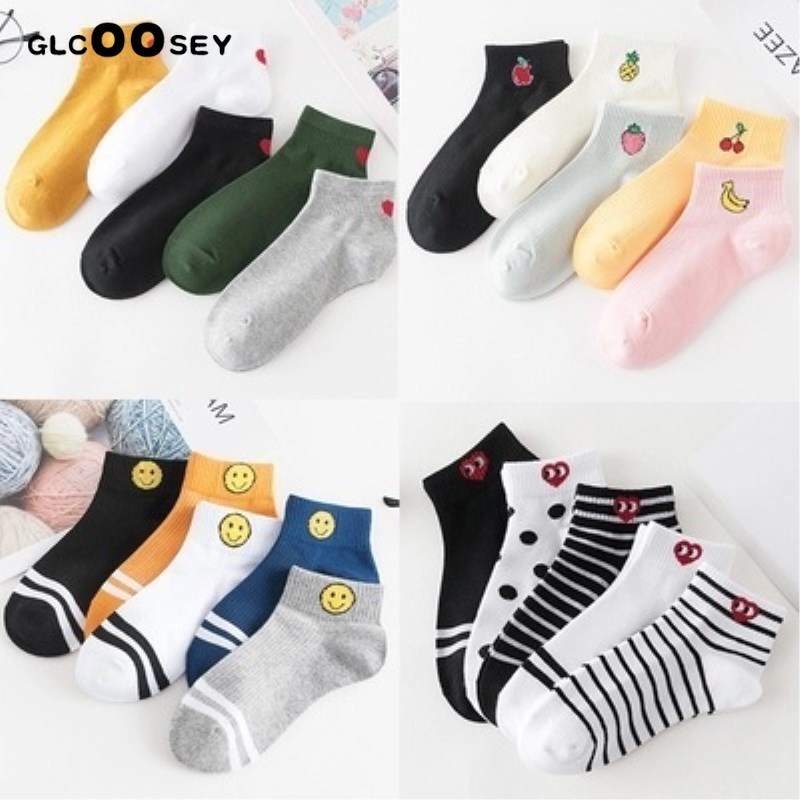 5 Pair/Pack Women's Cotton Boat   Socks   Female Fruit Love Smiling Face Pure Color Summer   Sock   Baseball Girls   Socks   Yellow Duck Eye