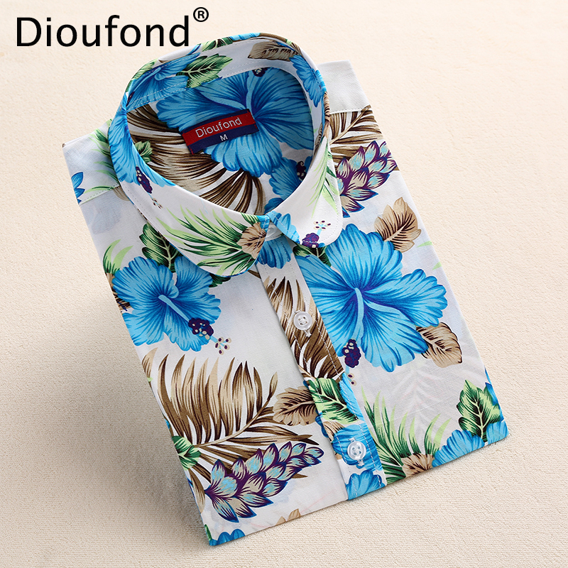 Dioufond New Autumn Floral   Blouse     Shirt   Long Sleeve Women Casual Flower Print   Shirts   Cotton Black Pink   Blouses   Blusas Plus Size