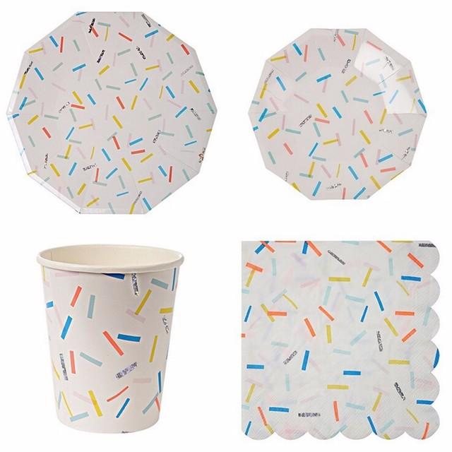 66Pcs/Set Silver Foil Stripe Disposable Tableware Party Paper Plates ...