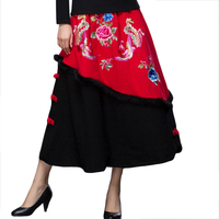 Women Red Chinese Ethnic Flower Skirt Handmade Button Thick Skirt Autumn Embroidery Animal Phoenix A Line