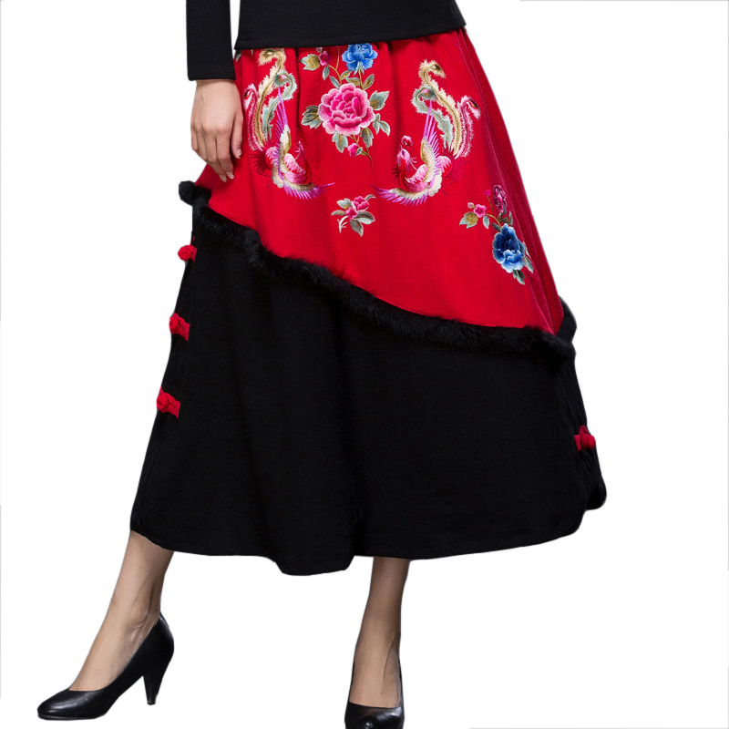 Women Red Chinese Ethnic Flower Skirt Handmade Button Thick Skirt Autumn Embroidery Animal Phoenix A-Line Long Skirts L-XL the arctic light winter men outdoor ski jacket suits hiking camping sports fleece windbreaker jacket thermal fleece pants sets