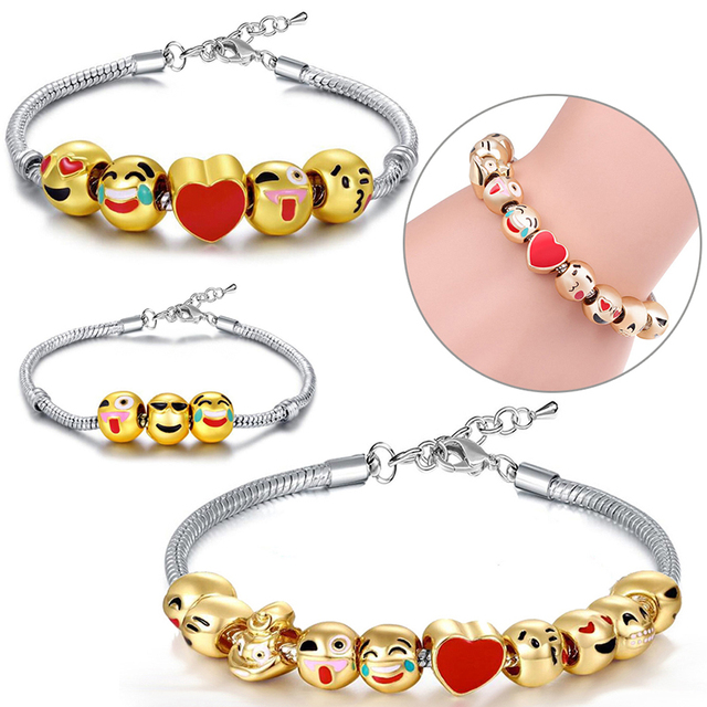 3 5 10 Beads Diy Cartoon Emoji Bracelets For Kids Love Heart Charms