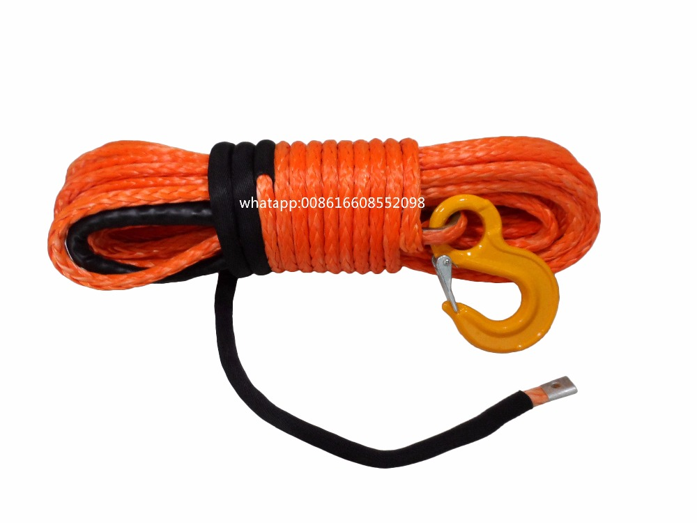 Orange 10mm*30m Synthetic Winch Rope,Plasma Winch Cable for Offroad,Spectra Winch Rope