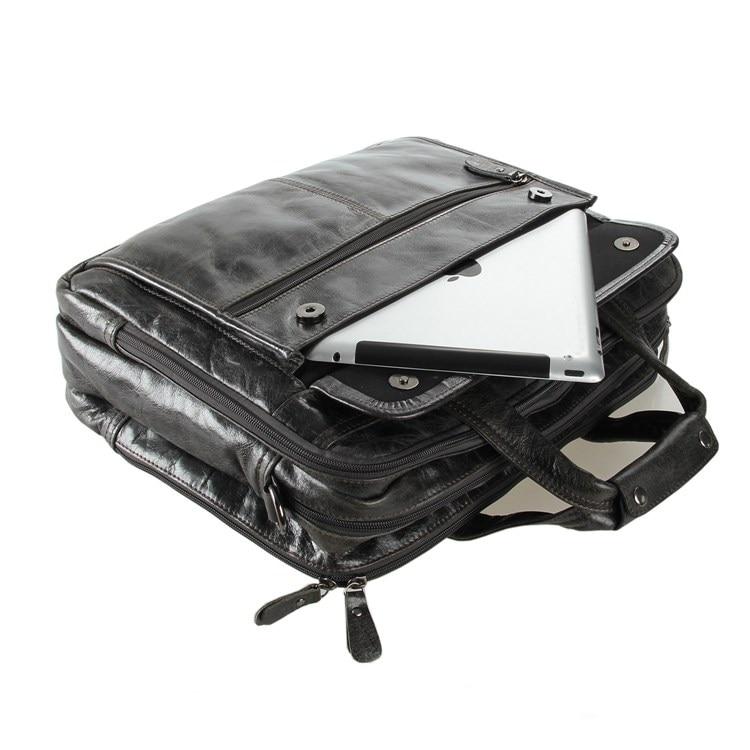 Messenger Portfolio Echtem Männer Hohe ''laptop 6 Geschäftsreisetasche Aktentasche Leder M7146 Qualität 15 Taschen Grau Vintage Nesitu HI8wTqvx