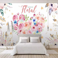 Custom 3d mural hand-painted watercolor cartoon floral background wall decoration painting wallpaper photo