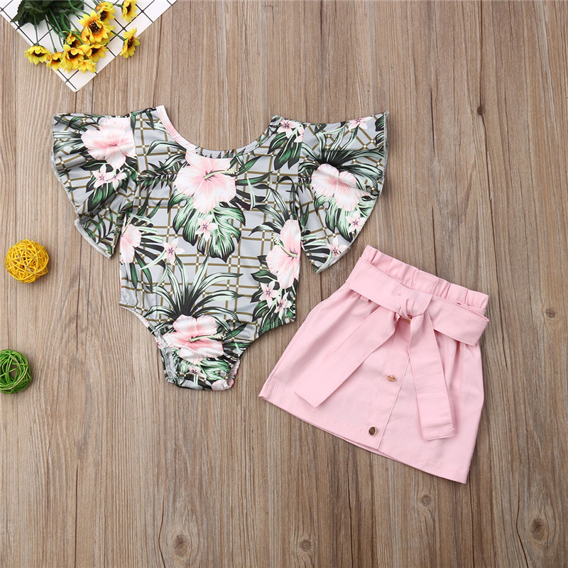 79a786342a5f3 Baby Girls Summer Toddler free shipping Clothes Button Bandage solid Skirts  backless Floral print round neck