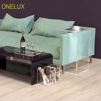 ONELUX New Design - Waterfall Acrylic Side C Tables With Storage Pocket & Tray - KD Packed