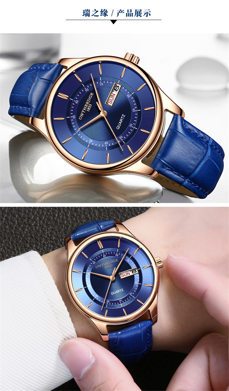 HTB1mVhyi1uSBuNjSsziq6zq8pXaC High Quality Rose Gold Dial Watch Men Leather Waterproof 30M Watches Business Fashion Japan Quartz Movement Auto Date Male Clock