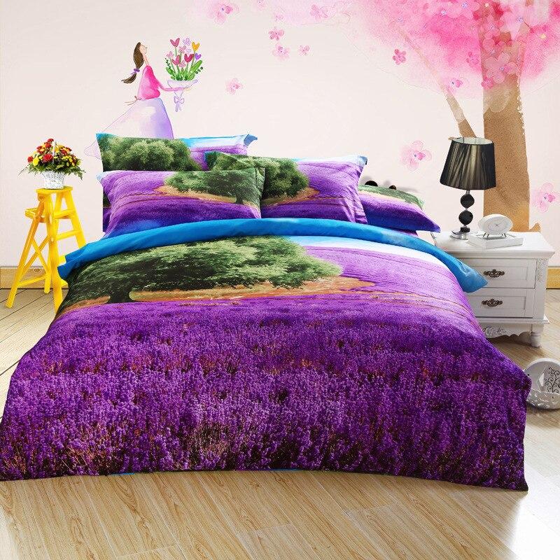 4pcs 3d printed bedding set romantic bedding coverlets cotton bedspreads quilt purple bed sheets queen size