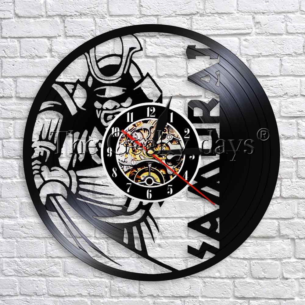 Super Cool Samurai Silihouette Wall Art Decor Vinyl Record Wall Clock Modern Design 3D Wall Watch Home Decor Unique Gift